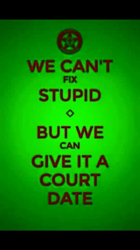 We can't fix stupid, but we can give it a court date.