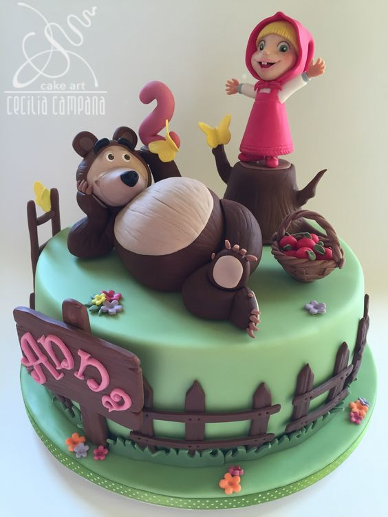 Masha and the bear cake. #fondant #sugarpaste #ceciliacampana #sugarart…: