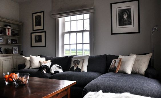 Kate's Leon chaise in Slate highland tweed looks the picture of comfort here in Essex; the dog is clearly in agreement.   http://www.sofa.com/