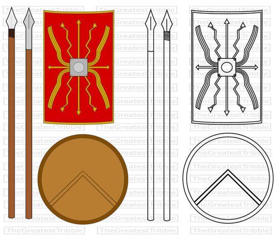 Ancient Spartan Shield Roman Spear Ancient Spartan Spear Roman Etsy Roman Shield Wallpaper Website Spartan Spear