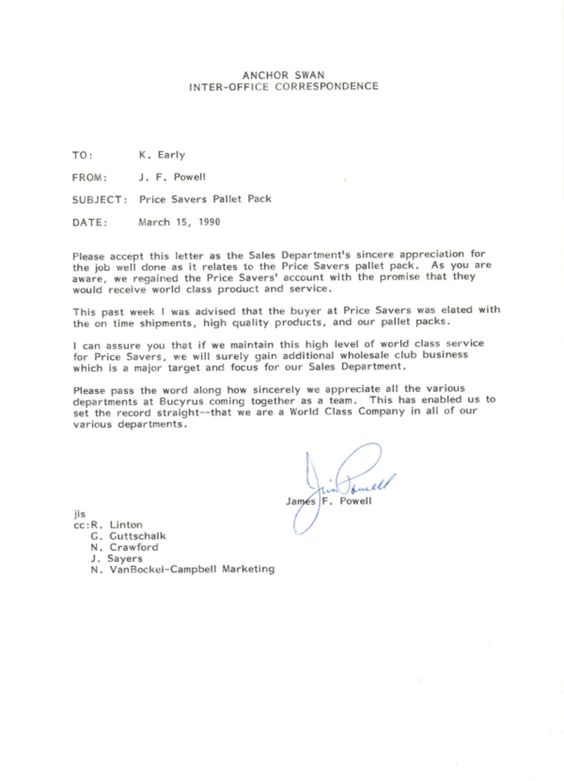 Letter Application For Job Well Done Thank You Employee   Inter Office  Letter  Inter Office Letter