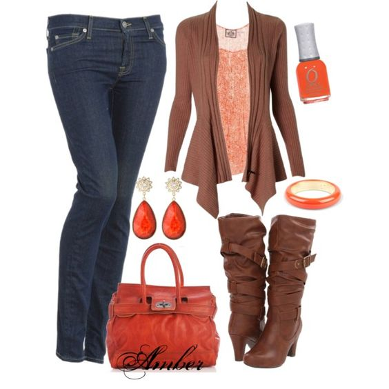 """Orange & Brown"" by stay-at-home-mom on Polyvore"