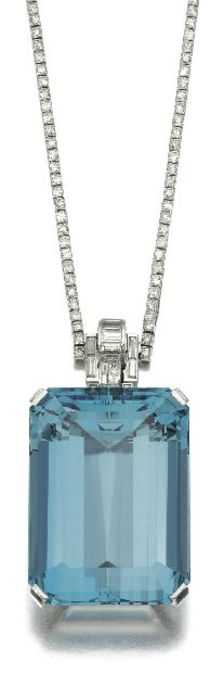 Diamond and aquamarine pendant, Mauboussin,  1930's.
