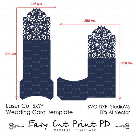 Wedding Luxury Envelope Card Template swirl cutting file C110 (svg - wedding card template