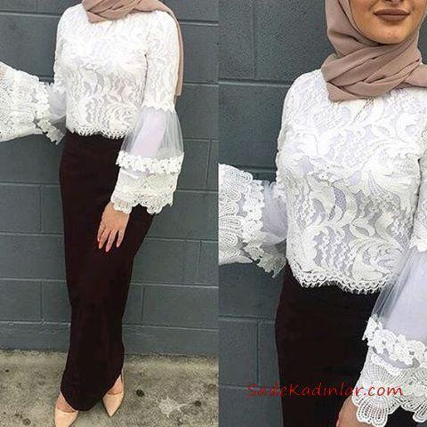 2020 Tesettur Etek Gomlek Kombinleri Siyah Uzun Dar Etek Beyaz Firfirli Kol Dantel Gomlek Basortusu Modasi Moda Stilleri Islami Giyim