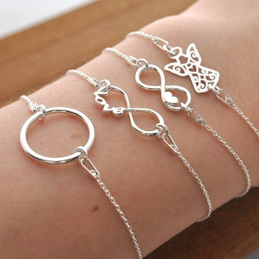 Stebrne Nowosci Srebro Srebrne Bransoletki Bransoletka Karma Aniol Aniolek Nieskonczonosc Serce Kolo Kolko Bracelets Infinity Bracelet Jewelry