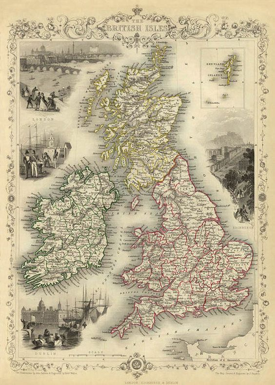 British Isles map Old map of British Isles Old by AncientShades