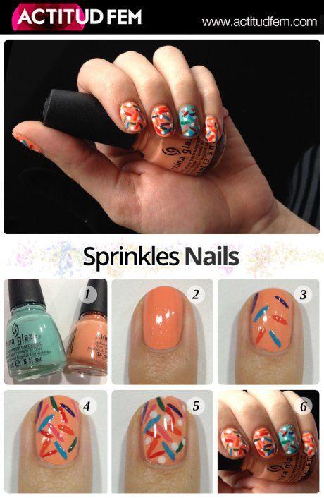 Tutorial: Sprinkles Nails #nailart #nailtutorial #nails #manicure #tutorial #diy #esmalte #bellezafem #viernesdemanicure #uñas
