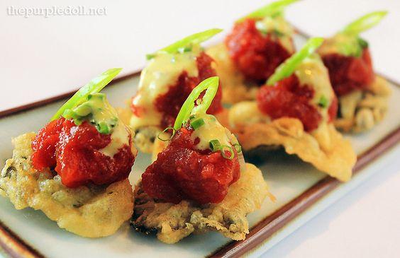 Nori-Chos, deep-fried tempura batter-coated nori with glazed ahi tuna and spicy mayo