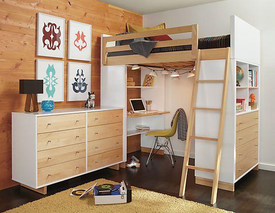 Room & Board hochbett kleines kinderzimmer lernplatz schreibtisch