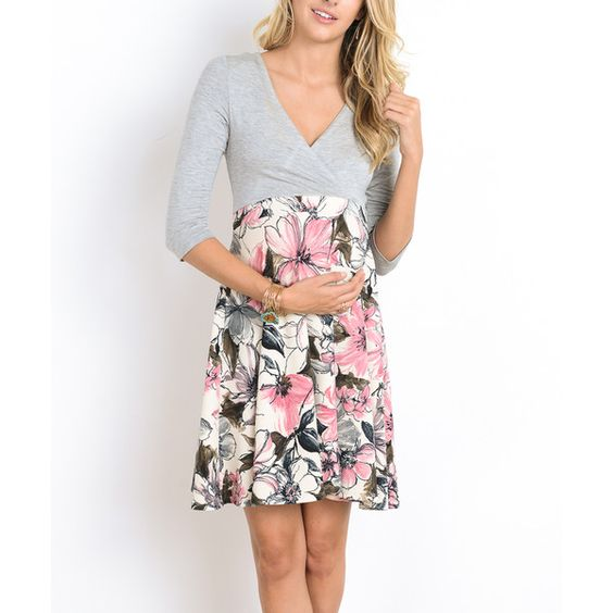 Hello Miz Maternity Hello Miz Gray & Pink Floral Maternity/Nursing... (40 CAD) ❤ liked on Polyvore featuring maternity