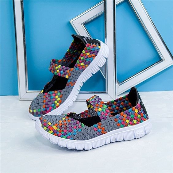 Mixed Color Checkered Breathable Sport Casual Shoes