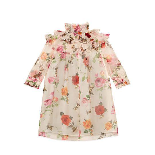 Children's rose print organza dress