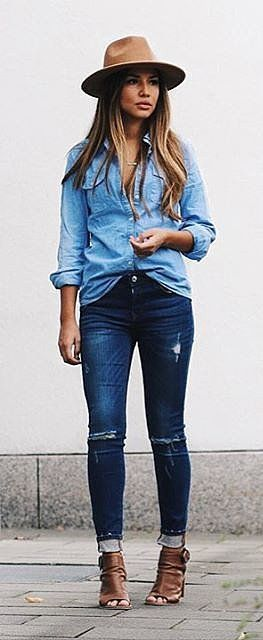 Denim on denim with matching deep accessories- brown shoes and brown hat