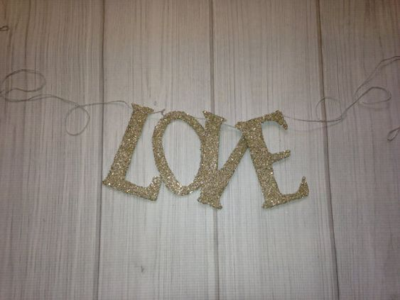 Love Banner Garland Photo Prop Handmade Holidays Silver German Glass Glitter Valentines Day Decor Wedding  Decor