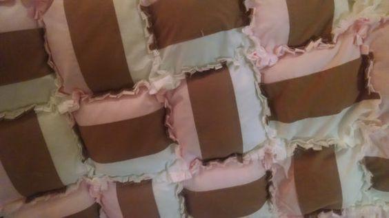 "NEW 2015 Design - #1 in ""Ice Cream Series"" Neapolitan ""rag type"" Pillow Quilt for baby girl"