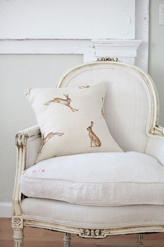 Classic White with Hare Pillow,subtle reminders of the Easter bunny are nice: