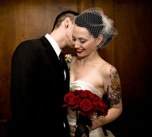 Rockabilly wedding. #vintage #bride love the RED roses...#romantic