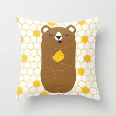 The Honey Bear Throw Pillow by littleoddforest - $20.00