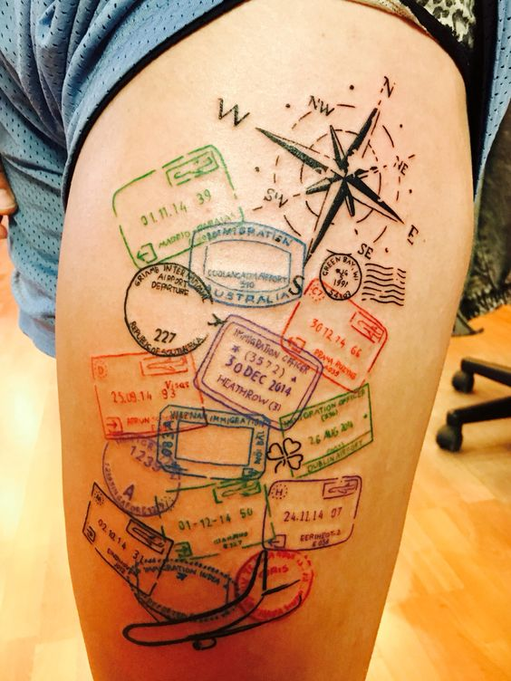 Travel inspired tattoo, done on my upper thigh by Marc Nelson in Madison, Wi. Timeless Tattoos Shop Travel dream tattoo creative colorful compass plane passport stamp
