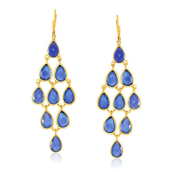 Sterling Silver Yellow Gold Plated Cascading Teardrop Blue Chalcedony Earrings