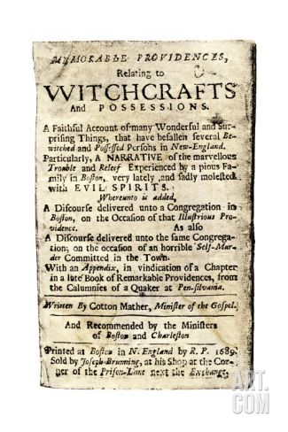 Cotton Mather, Memorable Providences Relating to Witchcrafts, Title Page, 1689 Giclee Print