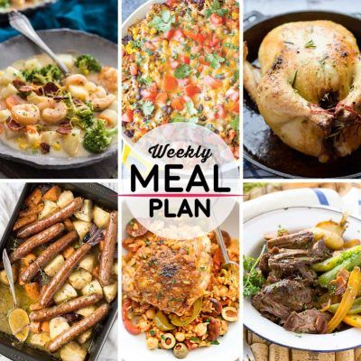 Weekly Meal Plan #38! A meal plan to help you keep things tasty each week, including Asian-style potato chowder, beef and rice casserole, rosemary lemon chicken, and more!   HomemadeHooplah.com