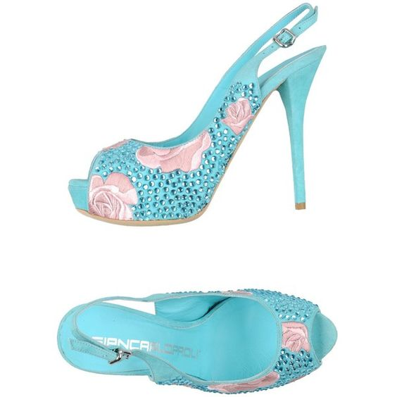 Giancarlo Paoli Sandals ($372) ❤ liked on Polyvore featuring shoes, sandals, turquoise, stiletto sandals, stilettos shoes, round cap, round toe shoes ve buckle sandals