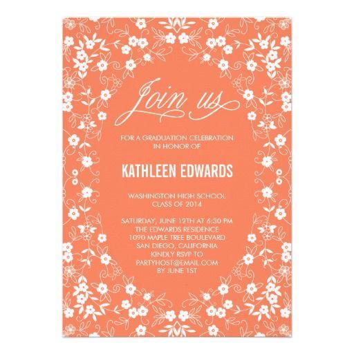 Elegant Floral Graduation Invitation - Salmon