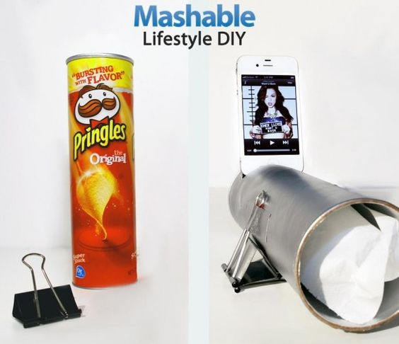pstrongMashable/strong teaches us how to turn a strongPringles/strong can into a low-cost amplifying strongphone speaker/strong with this fun do-it-yourself (DIY) project./p pThis amplifying speaker will give your music extra volume and a crisper, cleaner sound. Building your own speaker is /p