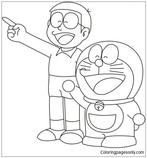 Doraemon And Nobita Coloring Page Cute Cartoon Drawings Cartoon Drawings Sketches Cartoon Coloring Pages