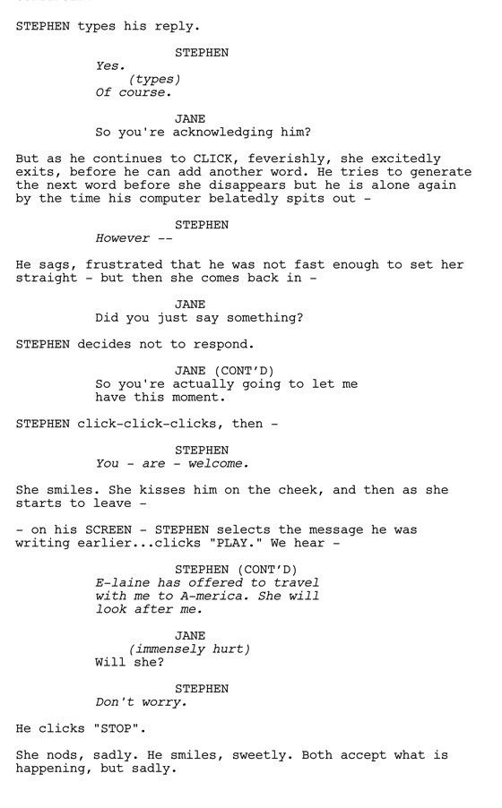 The Toughest Scene I Wrote The Theory Of Everything Acting