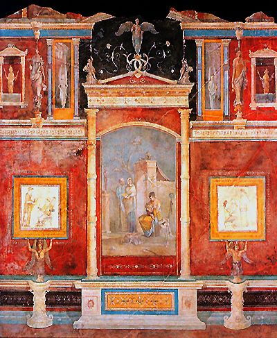 Pompeian mural painting 39 illusionism 39 style archeo for Ancient roman mural