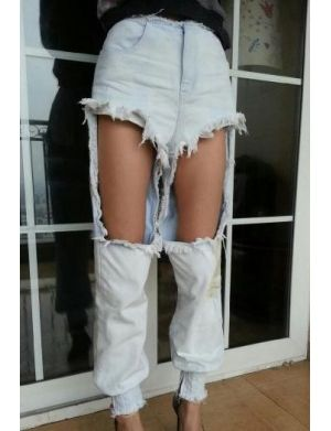UNA Washed-out Cutout Ripped Jeans | Shop Jessica Buurman ...