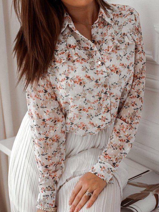 Bezowa Koszula W Kwiaty Z Falbana I Kolnierzem Dresses With Sleeves Fashion Long Sleeve Dress