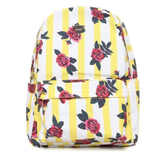 Wall Oasis Backpack by Joyrich ($81) ❤ liked on Polyvore featuring bags, backpacks, yellow, flower print backpack, floral backpack, joyrich, floral rucksack and faux-leather backpack