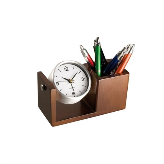 Luxurious desk clock Elegant aluminium desk clock with rotating function  and an integrated pen holder in a wood finish.  Is an eye catcher on every desk