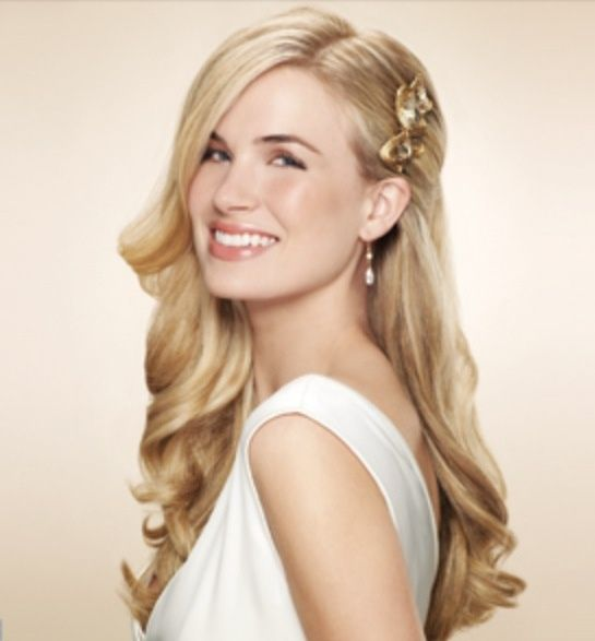 Wedding Hairstyle One Side: One Side Clipped Back Wedding Hair