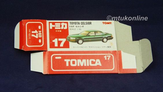 TOMICA 017F TOYOTA CELSIOR | 1/65 | ORIGINAL BOX ONLY | GREEN | 1990 JAPAN