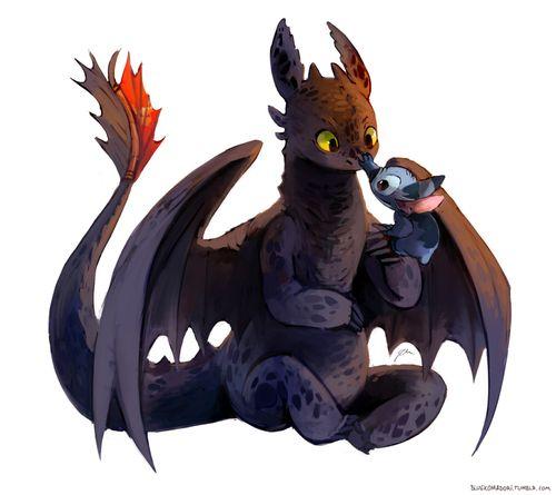 Aaaahhhhh!!! I love this! Toothless and Stitch. Misunderstood creatures.
