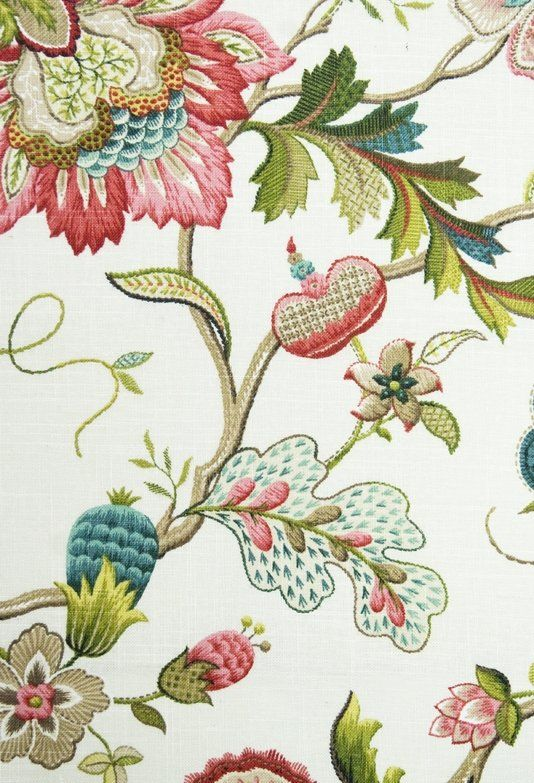 Reproduction. Langrish Linen Fabric A printed 18th Century embroidery style design fabric in pinks, turquoise and greens on an off white linen: