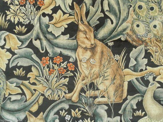 William Morris Curtain Fabric FOREST 3.0m Charcoal Cotton Velvet Design Animals #Sanderson