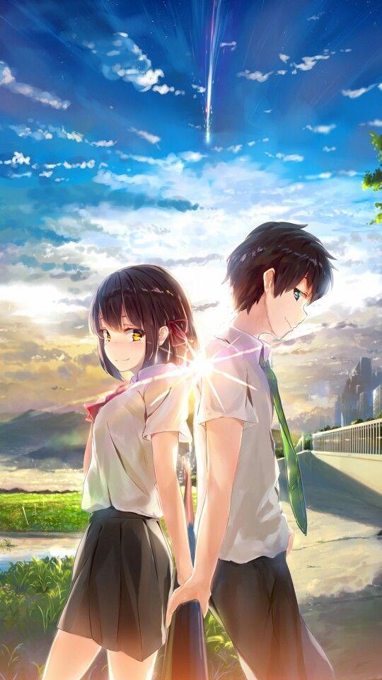 Anime Kimi No Na Wa Your Name Wallpaper Lockscreen Hd Fondo De Pantalla Seni Anime Gambar Anime Animasi