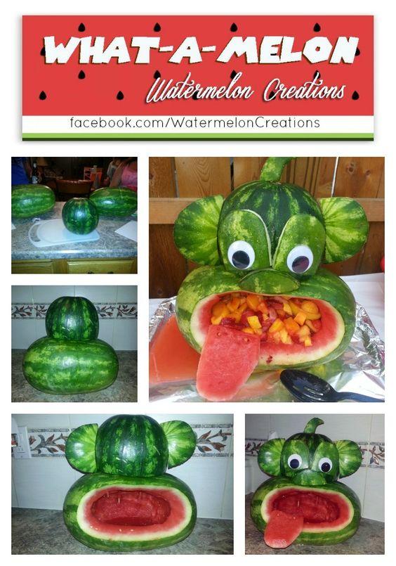 What~A~Melon Watermelon Creations Monkey Watermelon, Monkey birthday party, Monkey baby shower, food art, watermelon carving, watermelon art