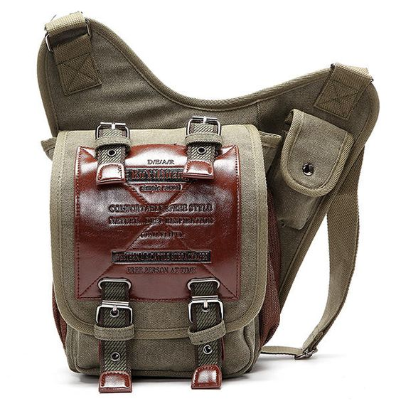 Men Canvas Retro Canvas Travel Cycling Crossbody Bag Chest Bag - US$39.99
