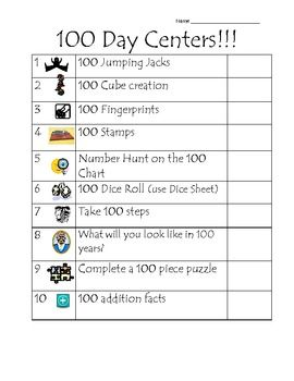 100th Day of School Station Ideas