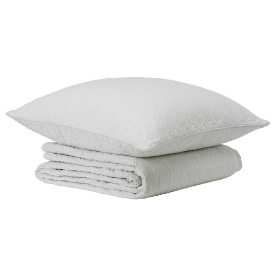 ALINA Bedspread and cushion cover - white, Twin/Full (Double) - IKEA