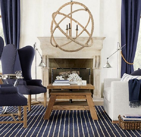 navy, wood and white