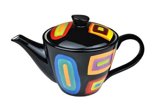 Teekanne im Retro Design mit Farbkaro Dekor (mehrfarbig) - Jameson & Tailor 6040 + Teeprobe: Amazon.de: Küche & Haushalt
