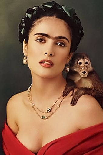 Salma Hayek as Frida Kahlo...love thick eyebrows just not the unibrow...LOL  She looks just like Frida Kahlo in this pic.
